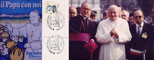 immagini del papa a San Salvo e della Cartolina pubblicata per l'occasione