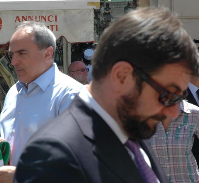 Marchese e, dietro, il segretario provinciale Pd Di Giuseppe