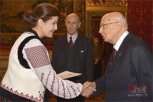 Ambasciatore in Italia S.E. Stela Stingaci con l'ex Presidente della Repubblica Giorgio Napolitano